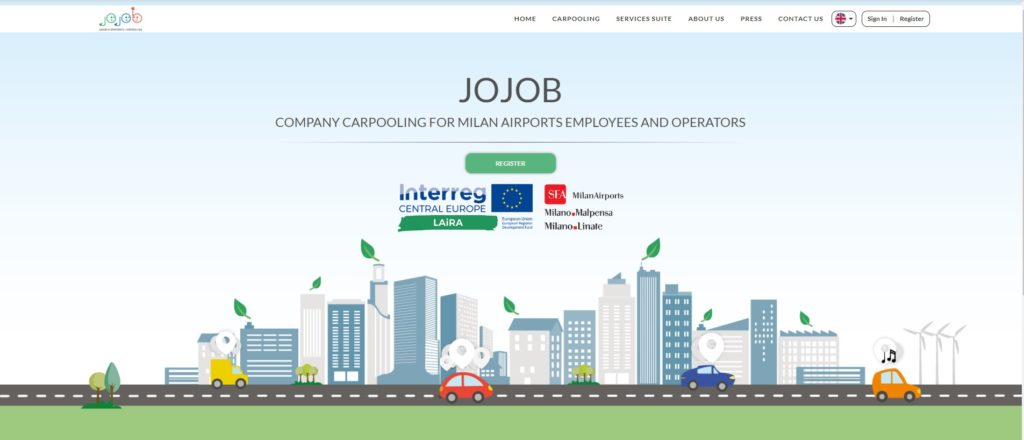 Jojob home page, company carpooling for SEA sustainable airports