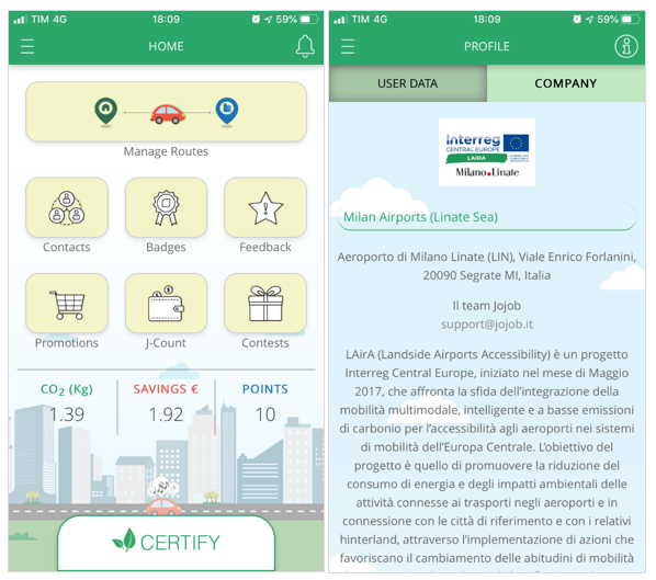 Jojob app interface, company carpooling for Milan sustainable airports