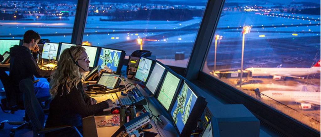 Air traffic controllers working on a control tower in an airport, stakeholder engaged in ClimOp